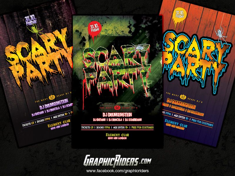 GraphicRiders Scary Party Flyer Templates (free halloween party - advertising flyers templates free