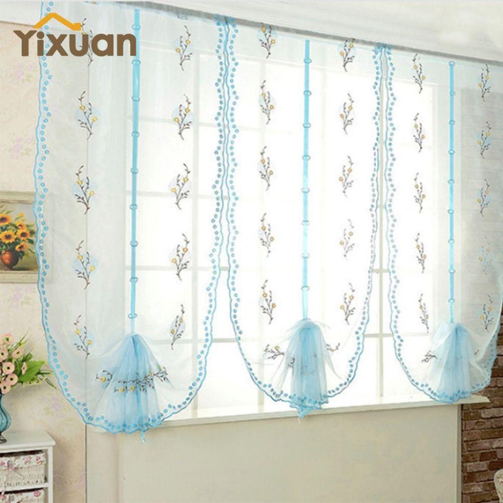 Roman curtains pastoral blue floral voile gauze for kitchen window