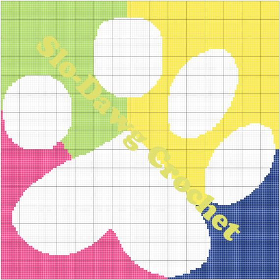 Rainbow Paw  crochet graph pattern by SloDawgCrochet on Etsy, $5.00