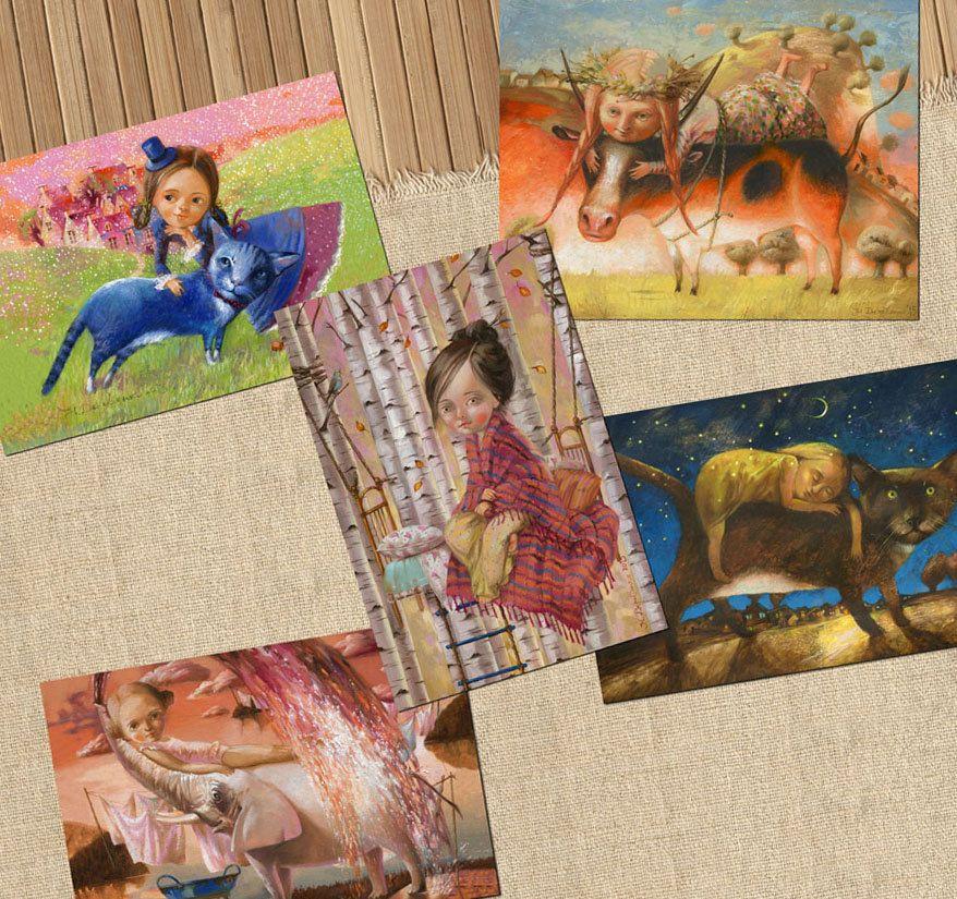 Postcard set Art postcard lot Elephant Cat cards Cow postcards art print illustration art card policolour cute postcard fairytale art card by ArtFable on Etsy