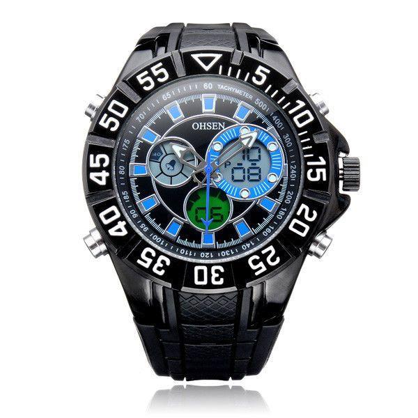 OHSEN AD2815 Sport Big Dial Back Light Week Men Quartz Wrist Watch  #OHSEN #Sport