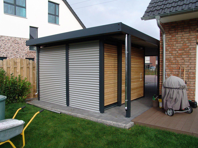 Design Metall Carport aus Holz Stahl Blech mit Abstellraum