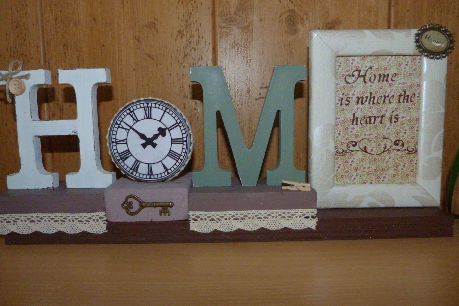 Cartel/Marco de Fotos Home realizado con letras de madera y ...