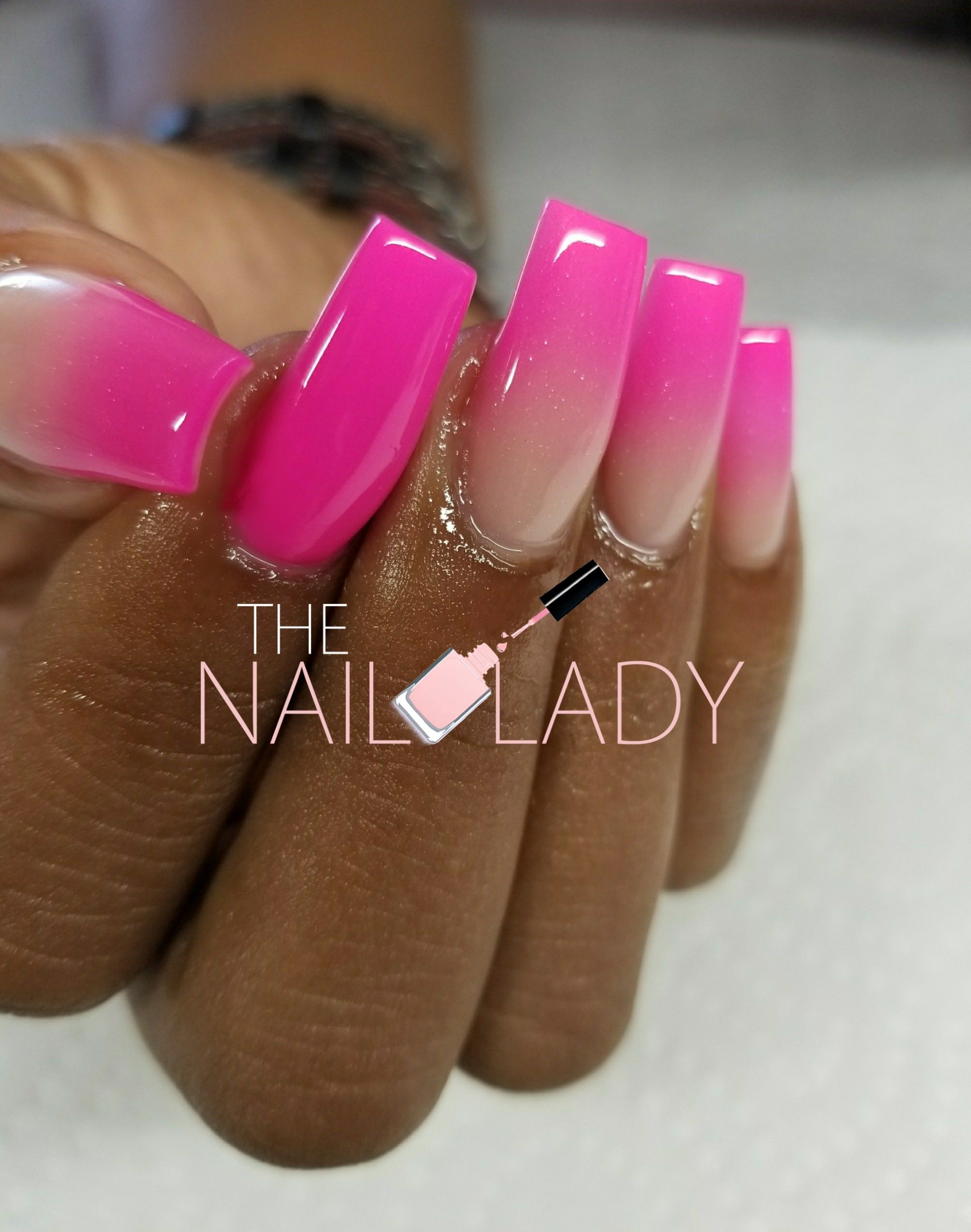 Hot Pink Ombre Tapered Square Tips Pink Tip Nails Pink Nails Pink Acrylic Nails