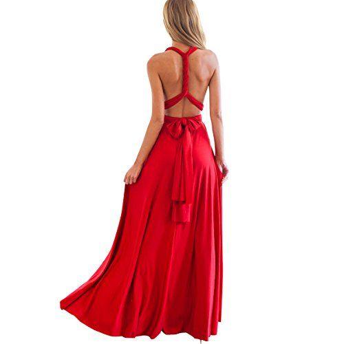 171dec6b3699 Femme Robe Longue de Cérémonie Chic Robe Ado Multi-Style Sexy Taille Haute  sans Manche