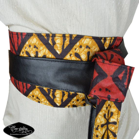 Ceinture femme en wax ceinture obi rouge ceinture à par coomonaetc ... f40a870f8a1