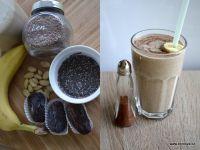 Smoothie Další z mléčných smoothie - ořechové mléko, mandle, banán, datle, namočená chia semínka, namletá lněná - posypáno skořicí (mám ji v solničce a díky tomu se lehce sype). Toto jsou moje snídaně...
