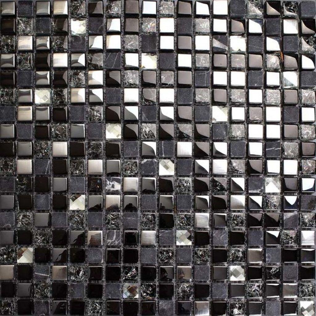 Design: Metal And Glass Tile Backsplash Wallpaper ...