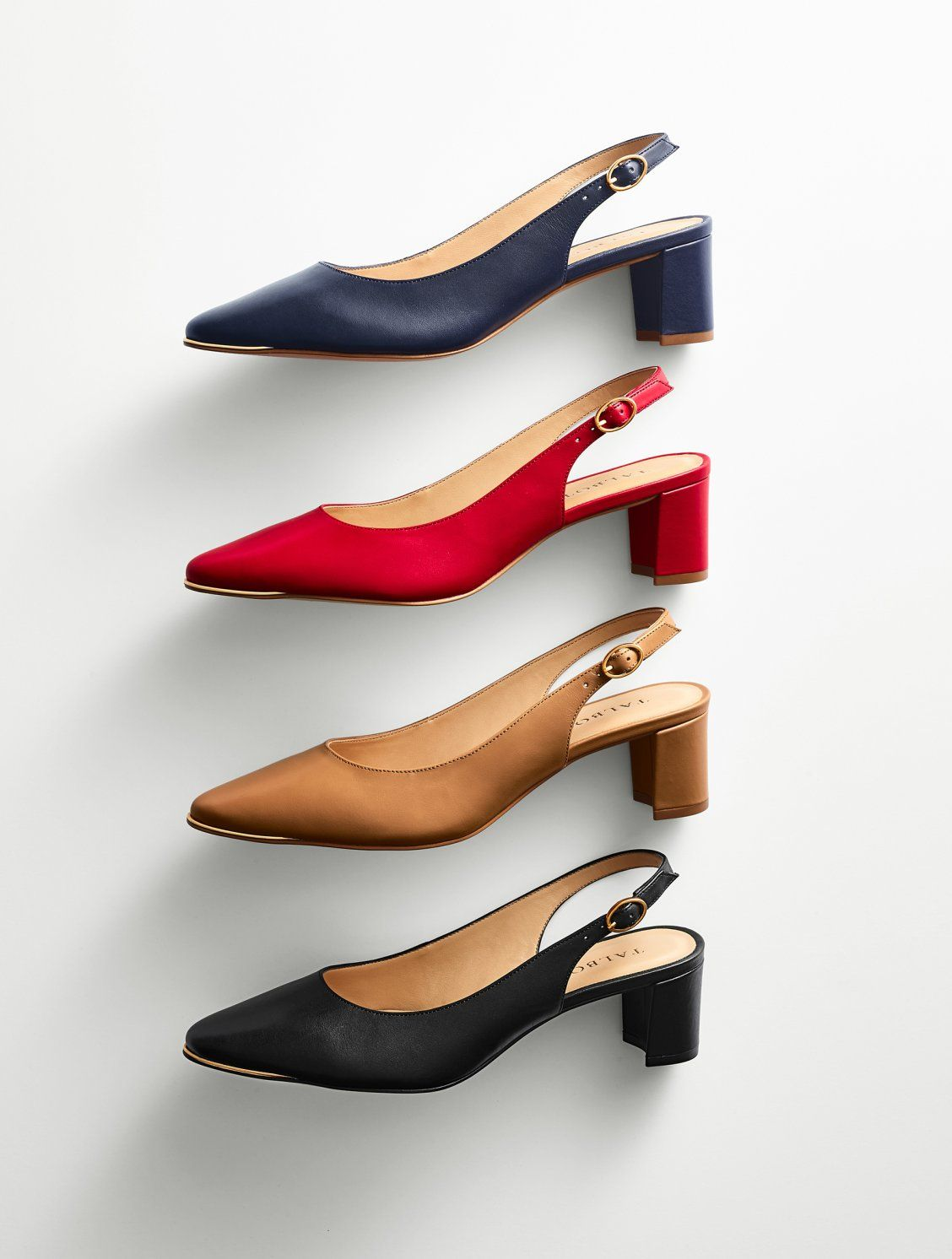 The Just Right Heel Height On These Classic Slingback Pumps Will Comfort Your Feet Soft Nappa Leather And Gold Toe Detai Heels High Heel Dress Shoes Slingback [ 1492 x 1128 Pixel ]
