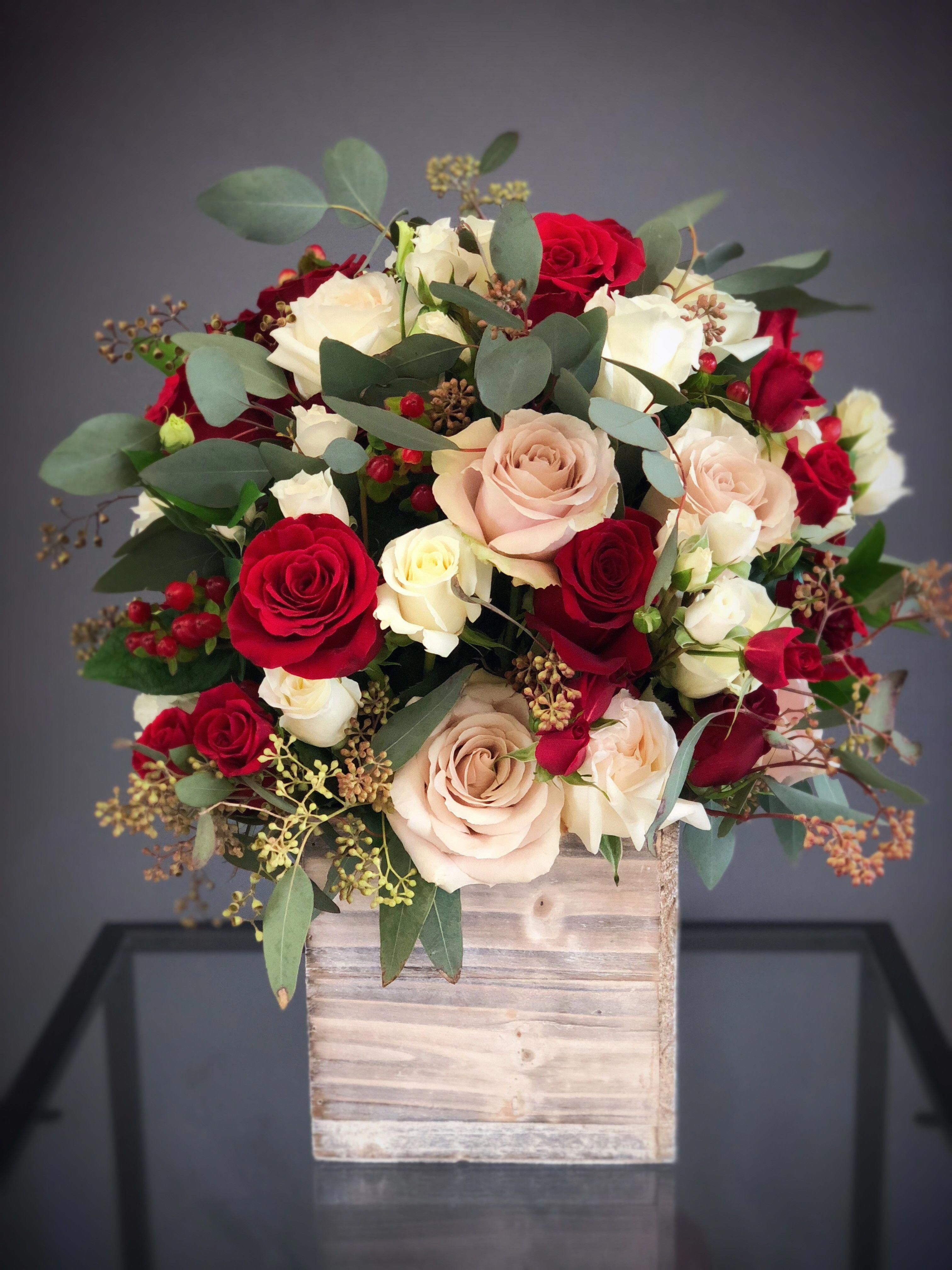 11 Tall Wood Box Arrangement White Red Flower