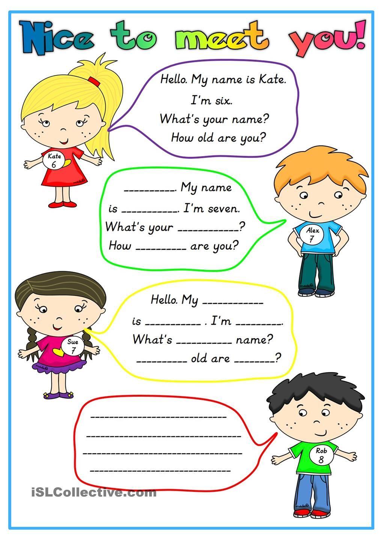 Nice To Meet You Atividades Em Ingles Para Criancas Exercicios