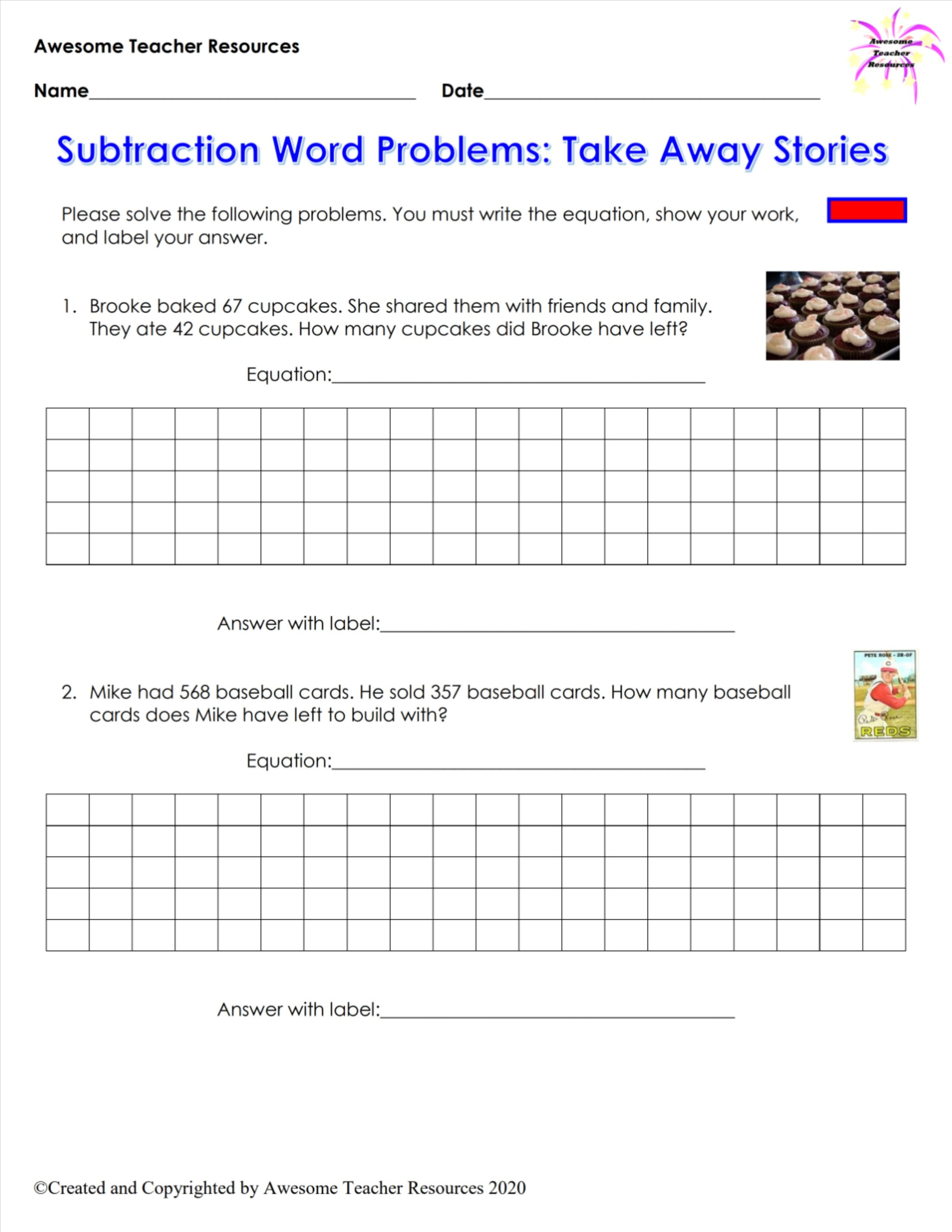 Subtraction Word Problems Take Away Stories Worksheet 1