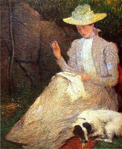 Julian Alden Weir (American, 1852-1919) Friends-1898