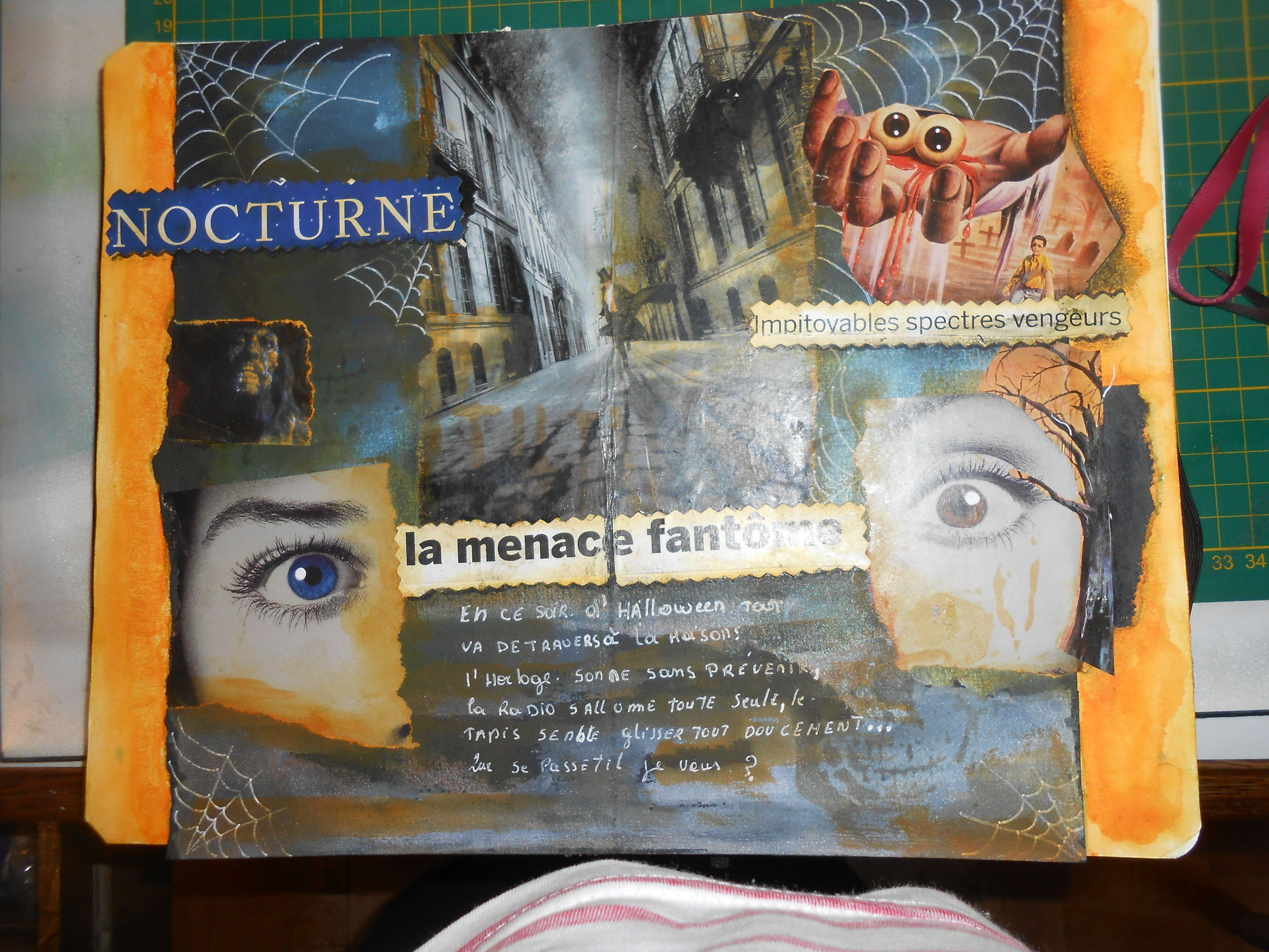 Page Art Journal Avec Papier Aquarelle Noir Collage Et Couleurs
