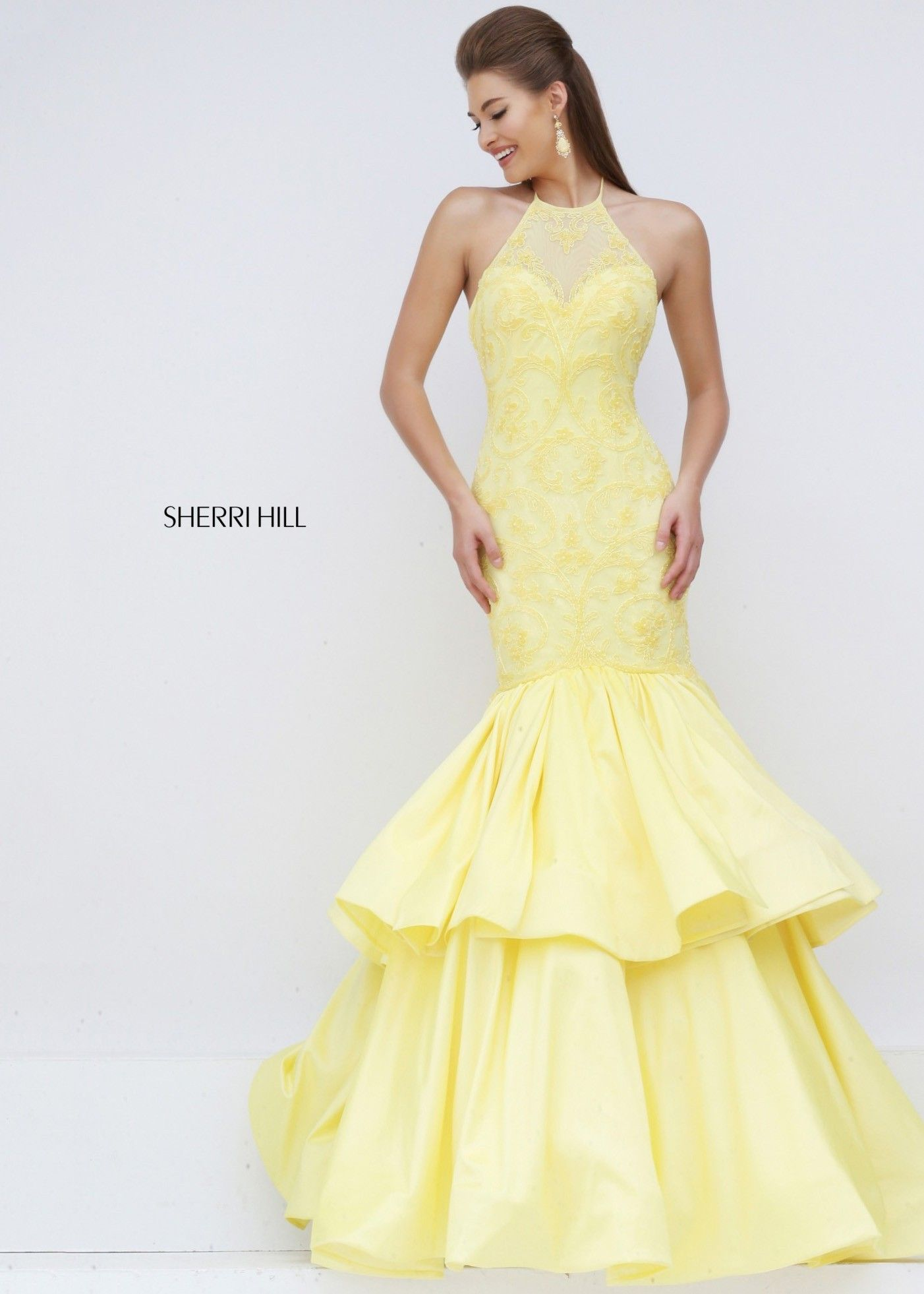 Sherri Hill 50266 Fascinating Yellow Lace Illusion Open Back Mermaid