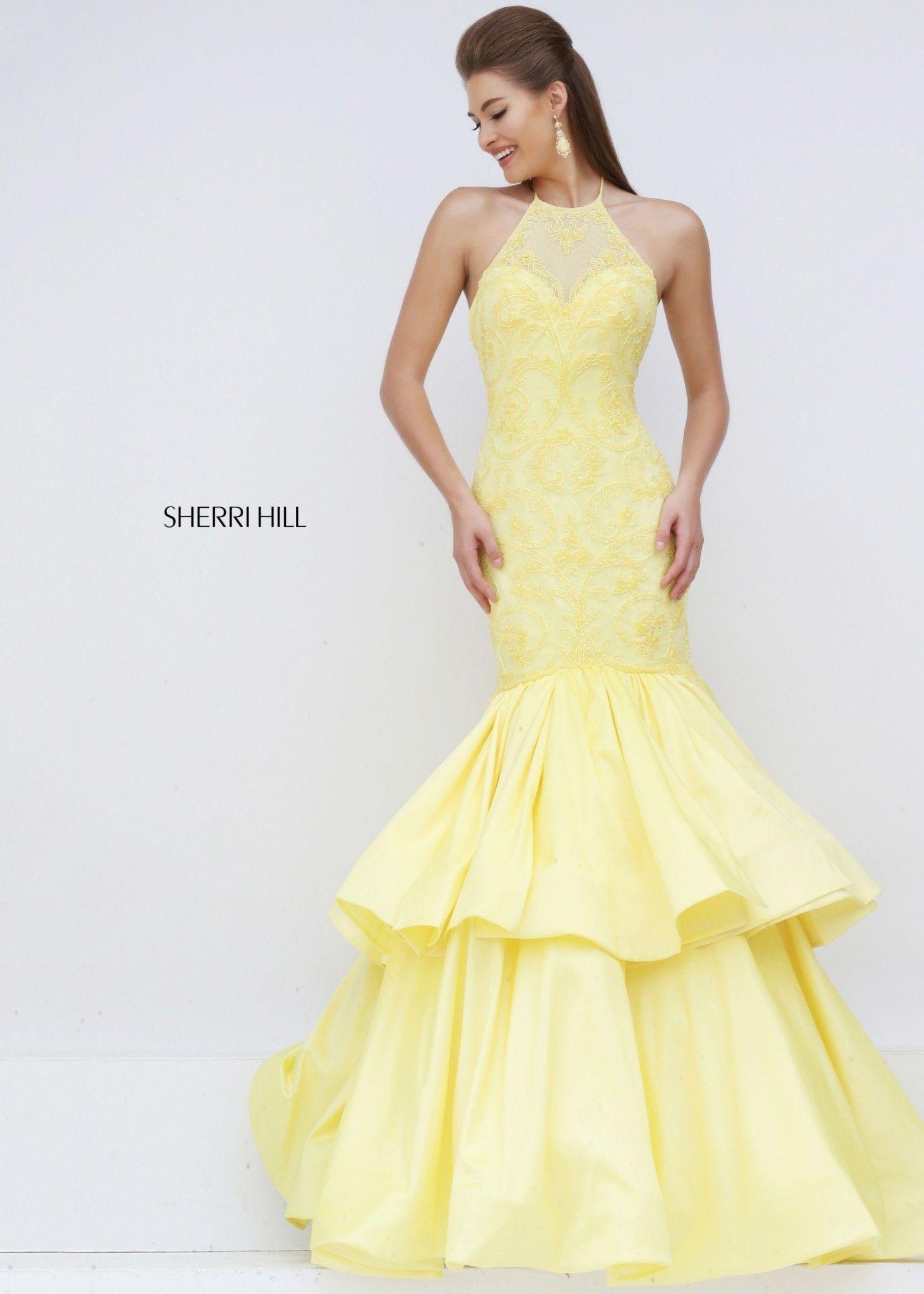 Sherri Hill 50266 Fascinating Yellow Lace Illusion Open Back Mermaid