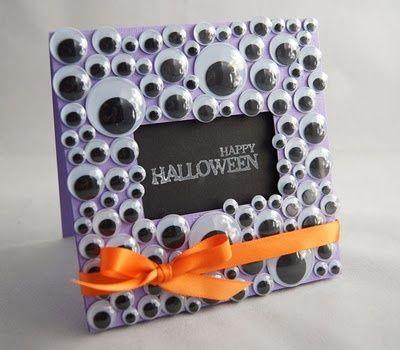Make a Halloween Card out of Googly Eyes! Or a cute frame idea - halloween diy ideas