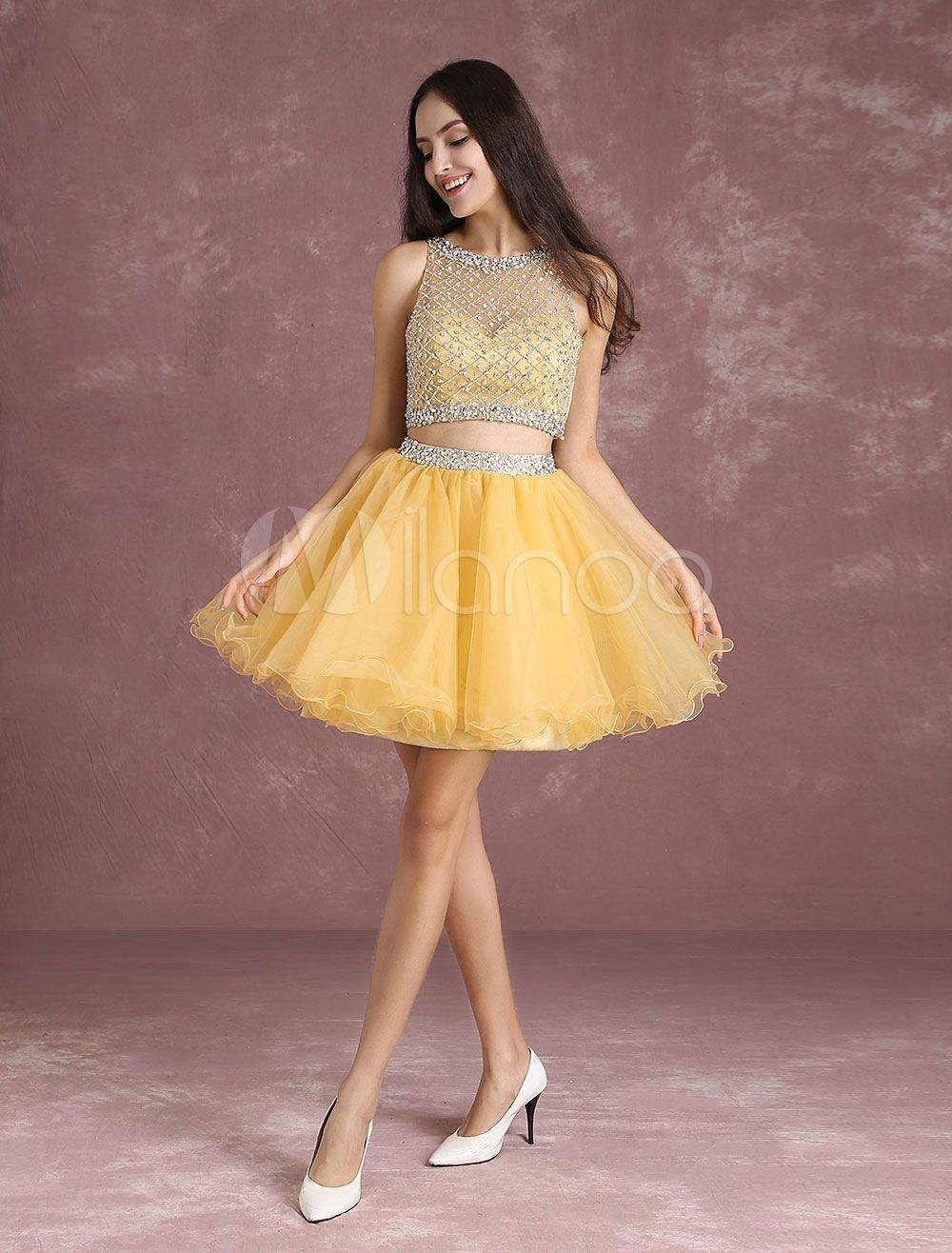 a89979856a97 Two Piece Homecoming Dresses Light Gold Short Prom Dresses Crop Top Tulle  Illusion Beading A Line Mini Tutu Party Dress - Milanoo.com