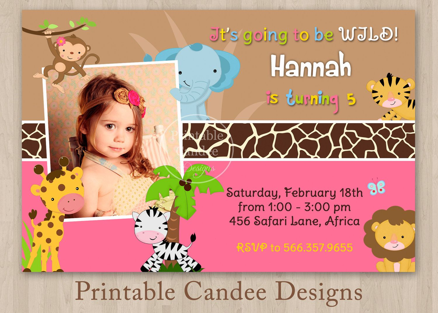Jungle Safari Girl Birthday Invitation Custom Printable 10 00