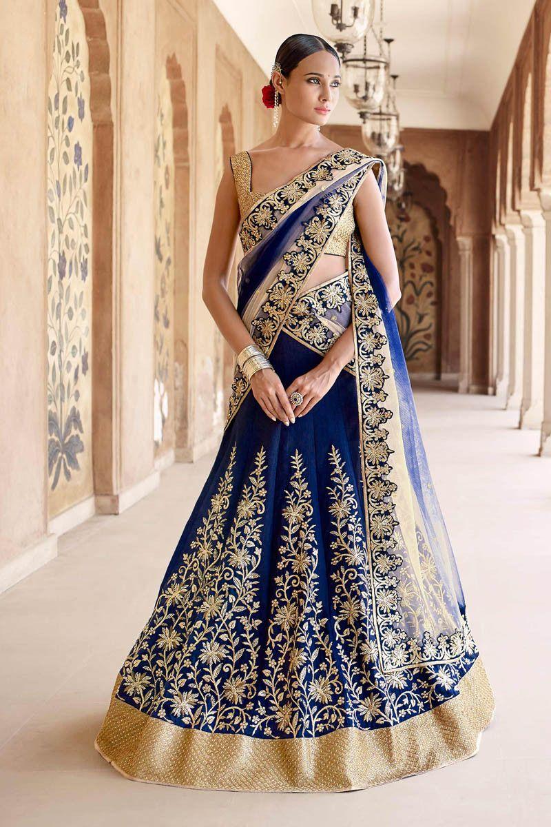 Navy Blue With Beige Bhagalpuri Lehenga Choli Online Indian Dresses 1