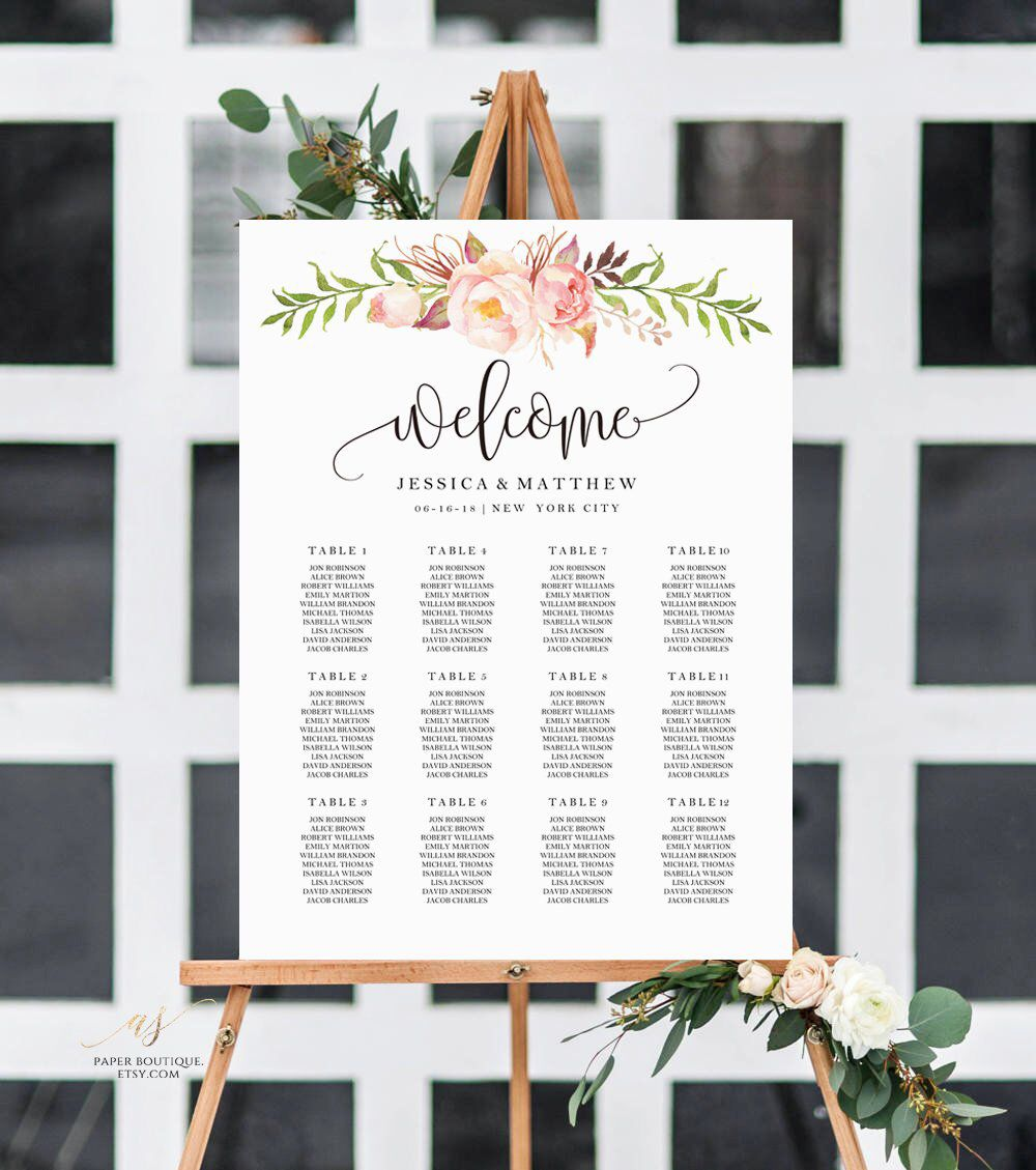 Rustic Peony Floral Wedding Seating Chart Template Find