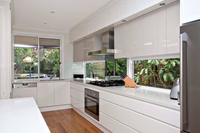 Window used as a splashback also nice style of handle for Kitchen ideas no window