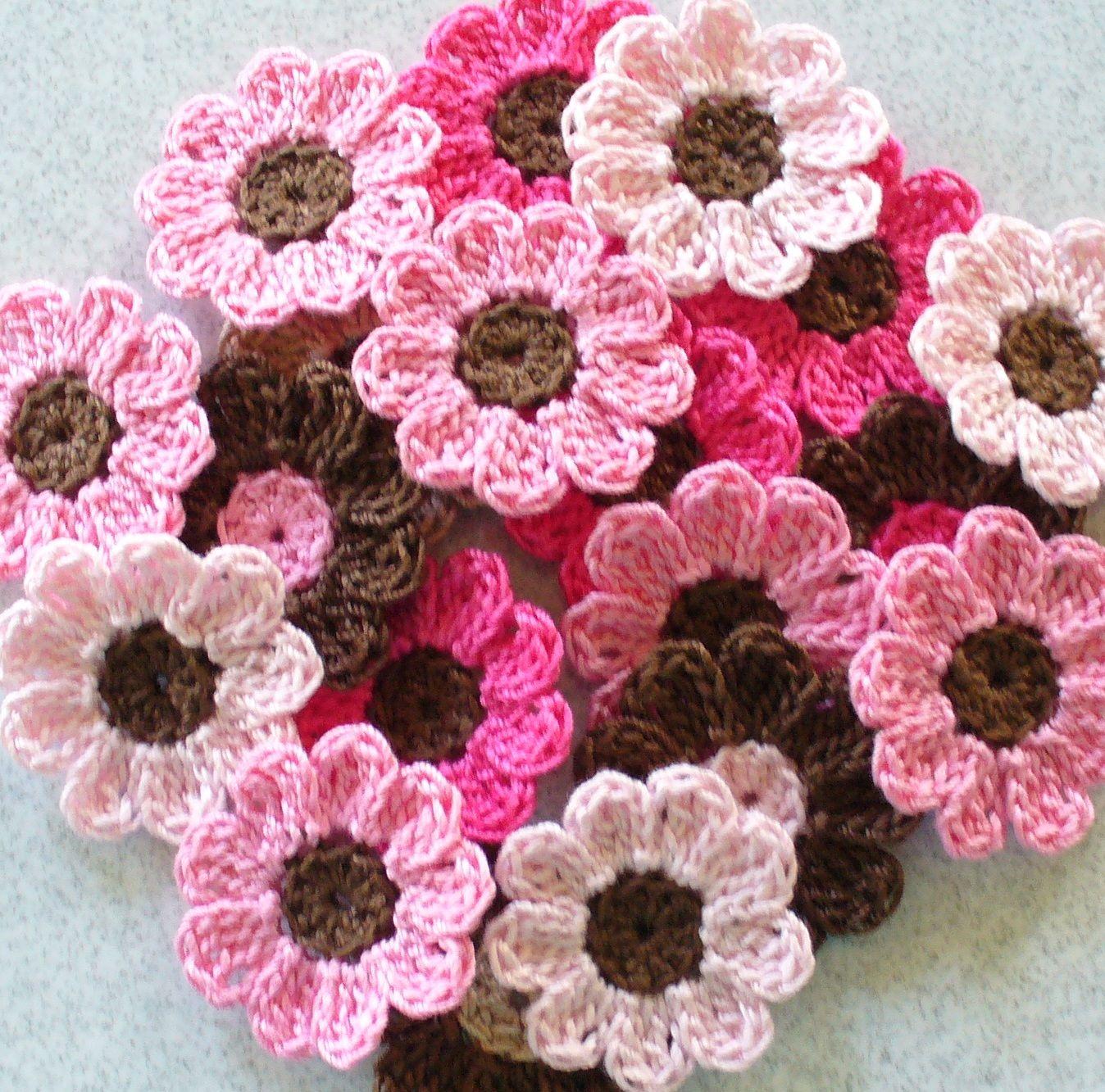 Flores Rosas Com Boto Marrom Decorao Casa Pinterest Rose Crochet Crochetflowers Pretty Flower Diagram Handmade Flowers Appliques Embellishments Pink Brown Set Of 21 On Luulla
