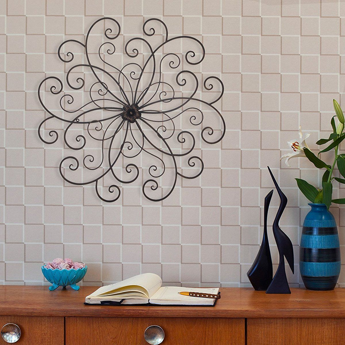 Kitchen Metal Wall Art: Homes Art Bronze Flower Urban Design Metal Wall Decor For