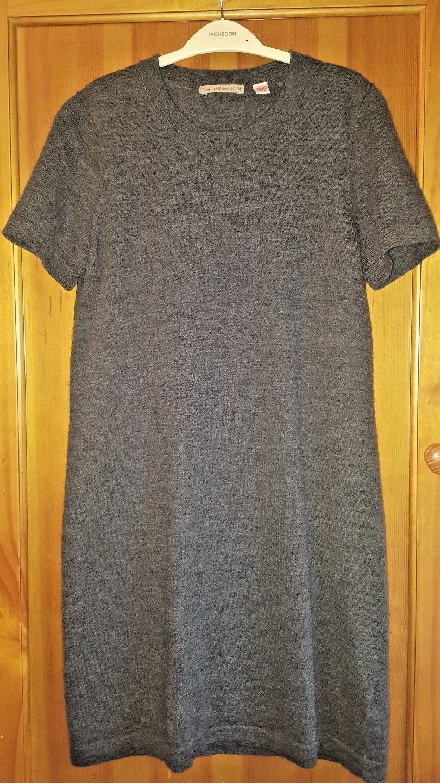e40a6403ed21d9 Uniqlo Extra Fine Merino Wool Grey Short Sleeve Jumper Sweater Dress Size  M/31'