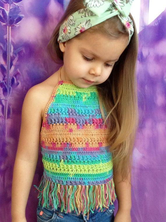 f348ad6be9547 Rainbow crochet top  Crochet Toddler Crop Top  от ElenaVorobey