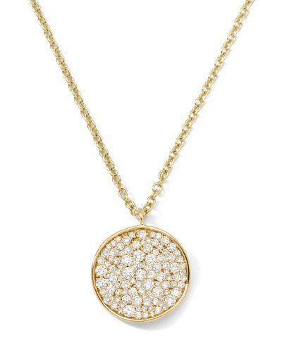 Ippolita Stardust 18k Diamond Disc Pendant Necklace PR0M9T