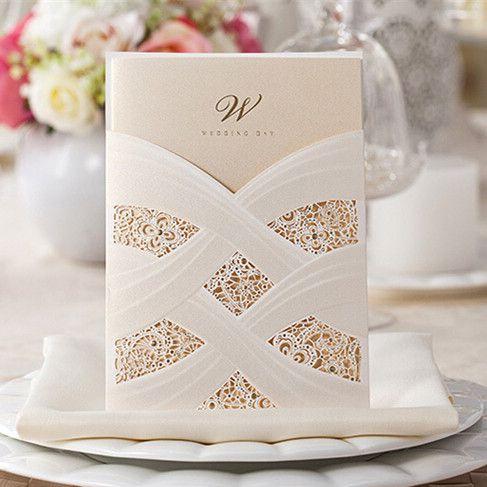 Perfekt Elegante Spitze Hochzeitseinladung Einsteckkarte OPL071