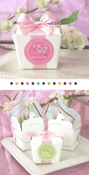 Beautiful take out boxes for delicious favors!  Just add wide ribbon & sticker label!
