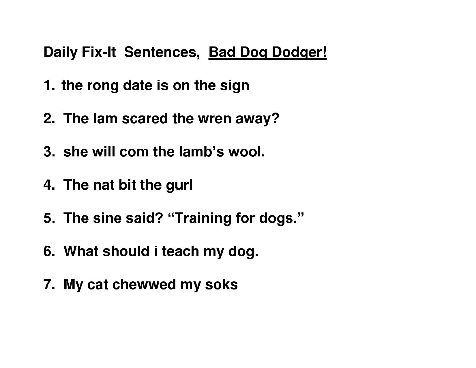 Fix It Sentences For 5th Grade