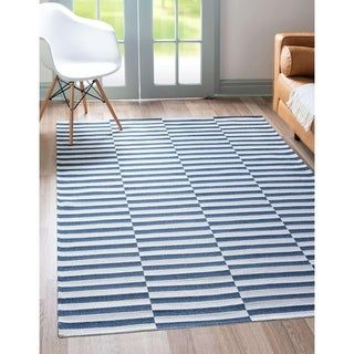 Unique Loom Striped Decatur Rug Navy 7 5 X 10 0 Blue Carson Carrington In 2020 Modern Rugs Rugs Striped Rug