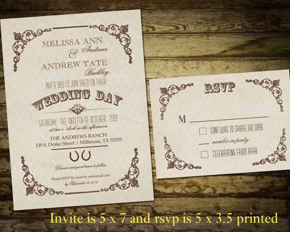 17 Best images about Wedding Invitations – Country Style Wedding Invites