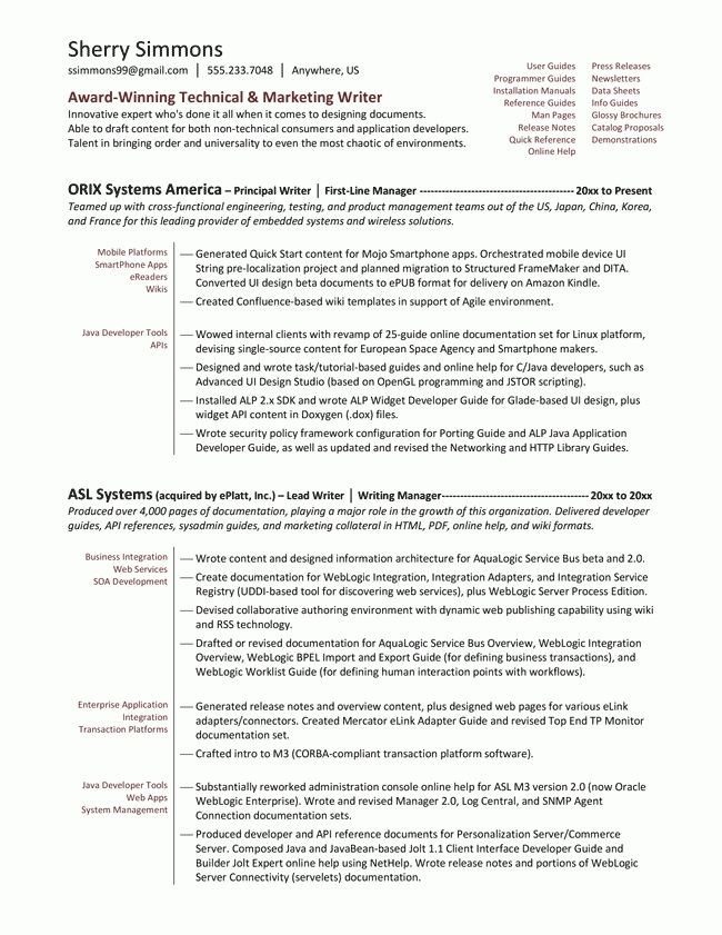 resume-samples-examples_brightside-resumes-pertaining-to-writer - enterprise application integration resume