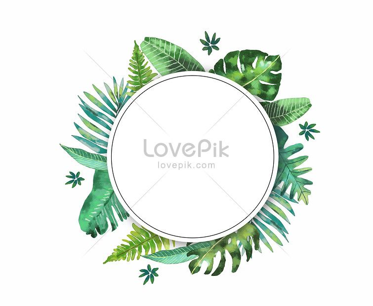 Watercolor Leaf Border Leaf Border Tropical Leaf Watercolor