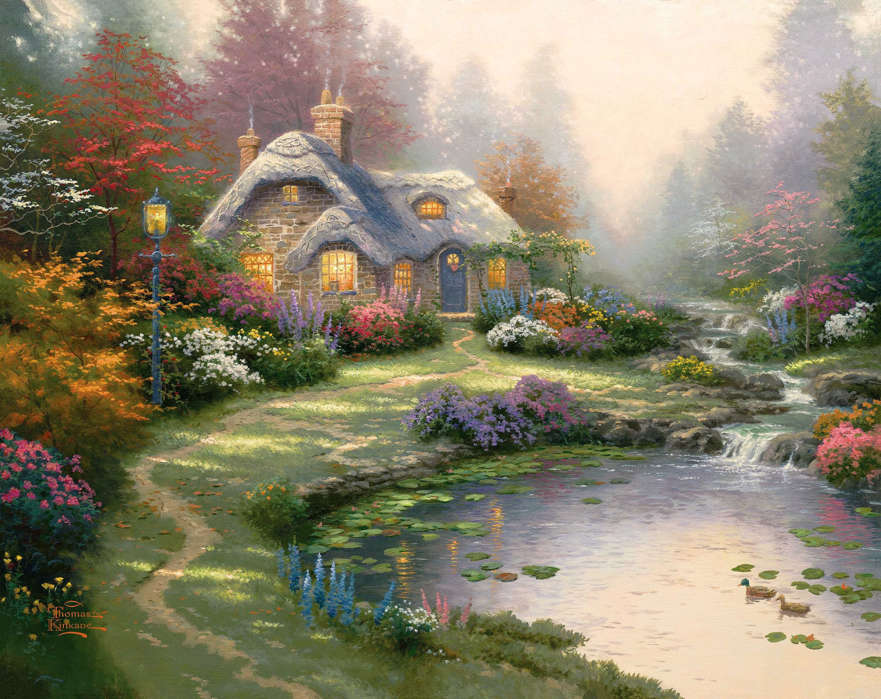 Everetts Cottage By Thomas Kinkade  Pond Stream Spring -2643