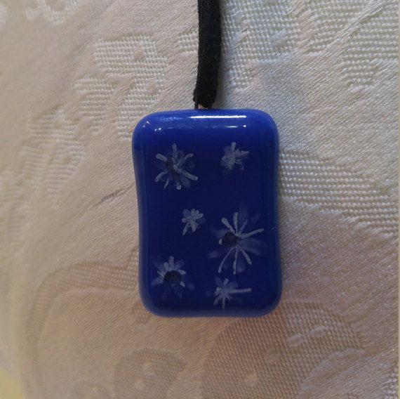 Blue glass pendant. Blue glass necklace.Sparkle design necklace.Women gift. Handmade Jewelry. Gift for her. White color stars on blue glass https://www.etsy.com/il-en/shop/MagicglassLM?ref=hdr_shop_menu