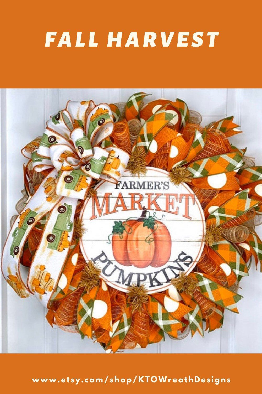 Farmers Market Pumpkin Wreath, Pumpkin Door Hanger, Fall Door Decor, Pumpkin Wreath, Green Truck Pumpkin Wreath