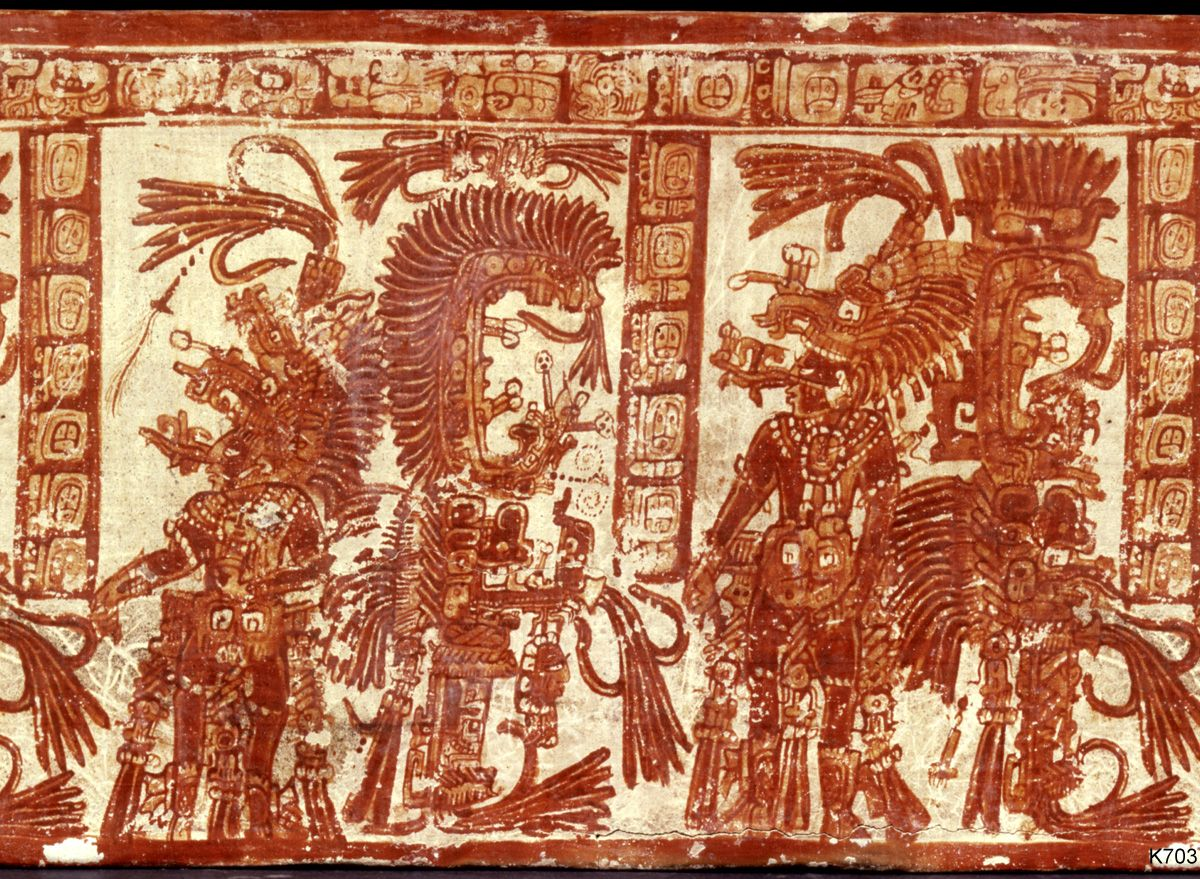The Maize God or an impersonator dances.