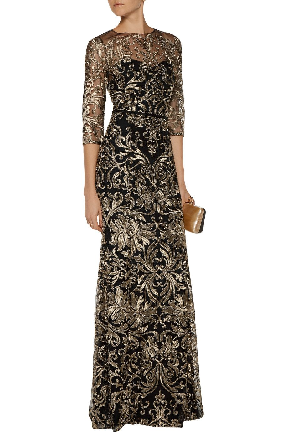 Shop On Sale Marchesa Notte Metallic Embroidered Tulle Gown Browse