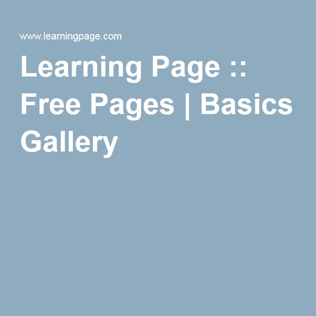 Learning Page :: Free Pages | Basics Gallery | Home Preschooling ...