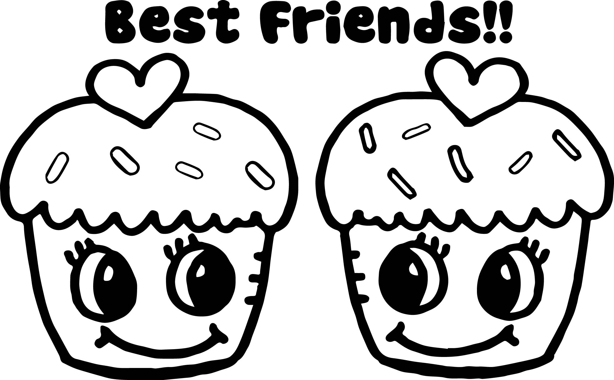 Cupcakes Best Friends Coloring Page Cupcake Coloring Pages Birthday Coloring Pages Cute Coloring Pages