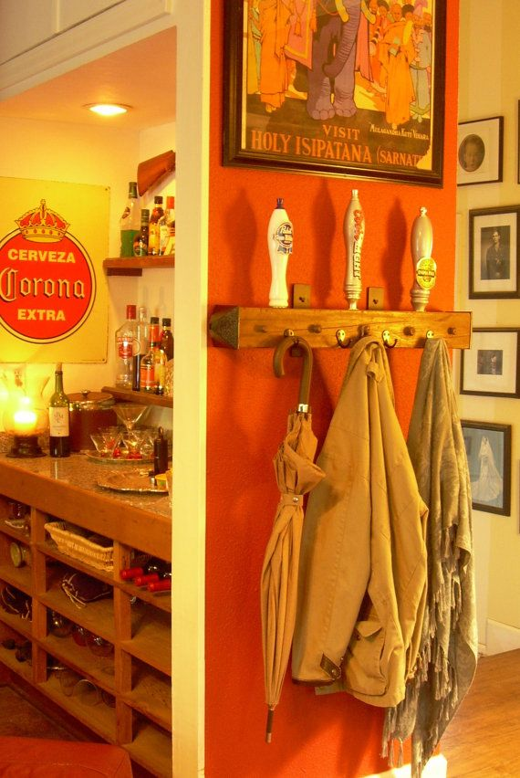 Coat Rack Made From Vintage Beer Tap Handles And