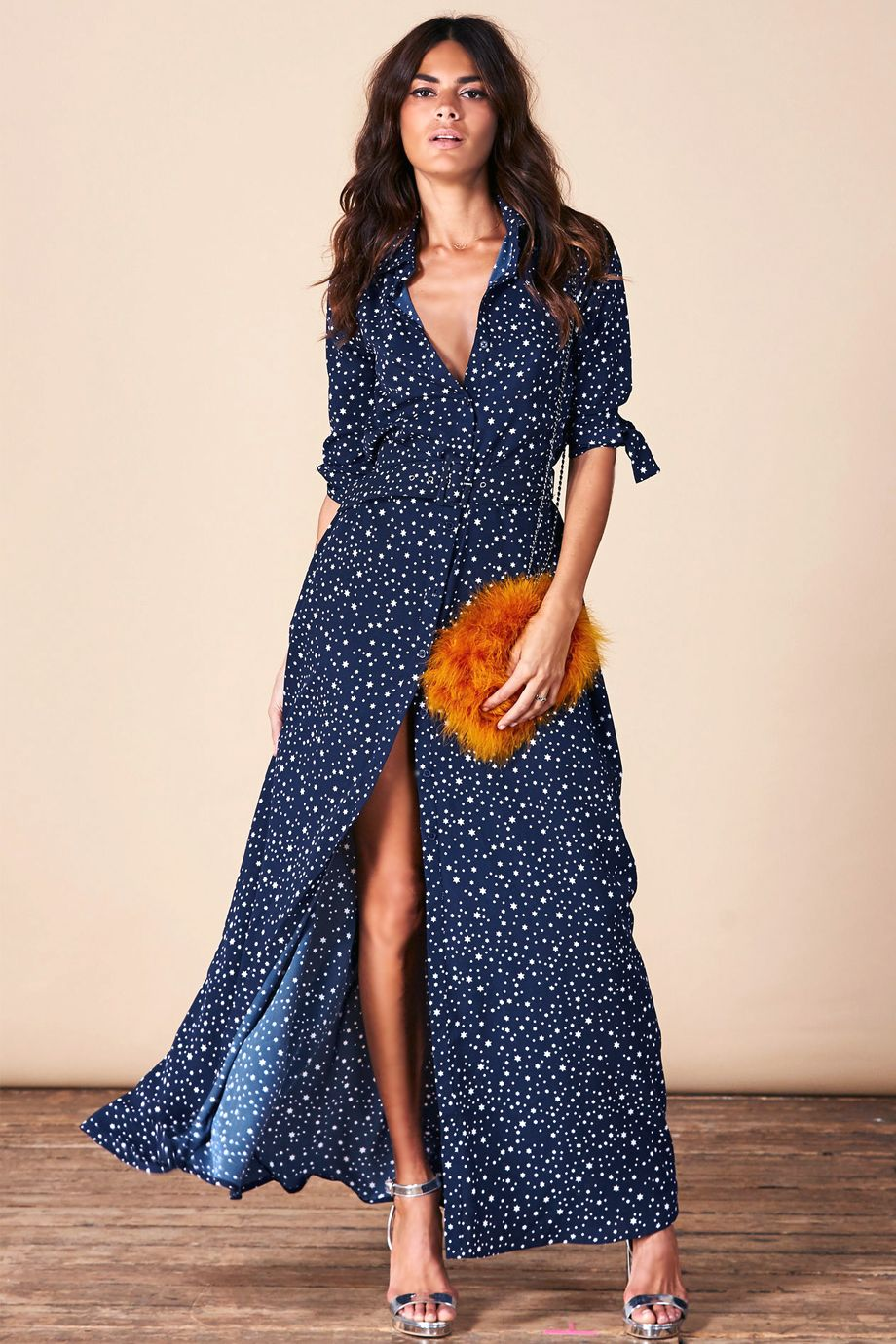 30cdfbca491a Σεμιζιε μπλε μαξι φορεμα με λευκα αστερακια