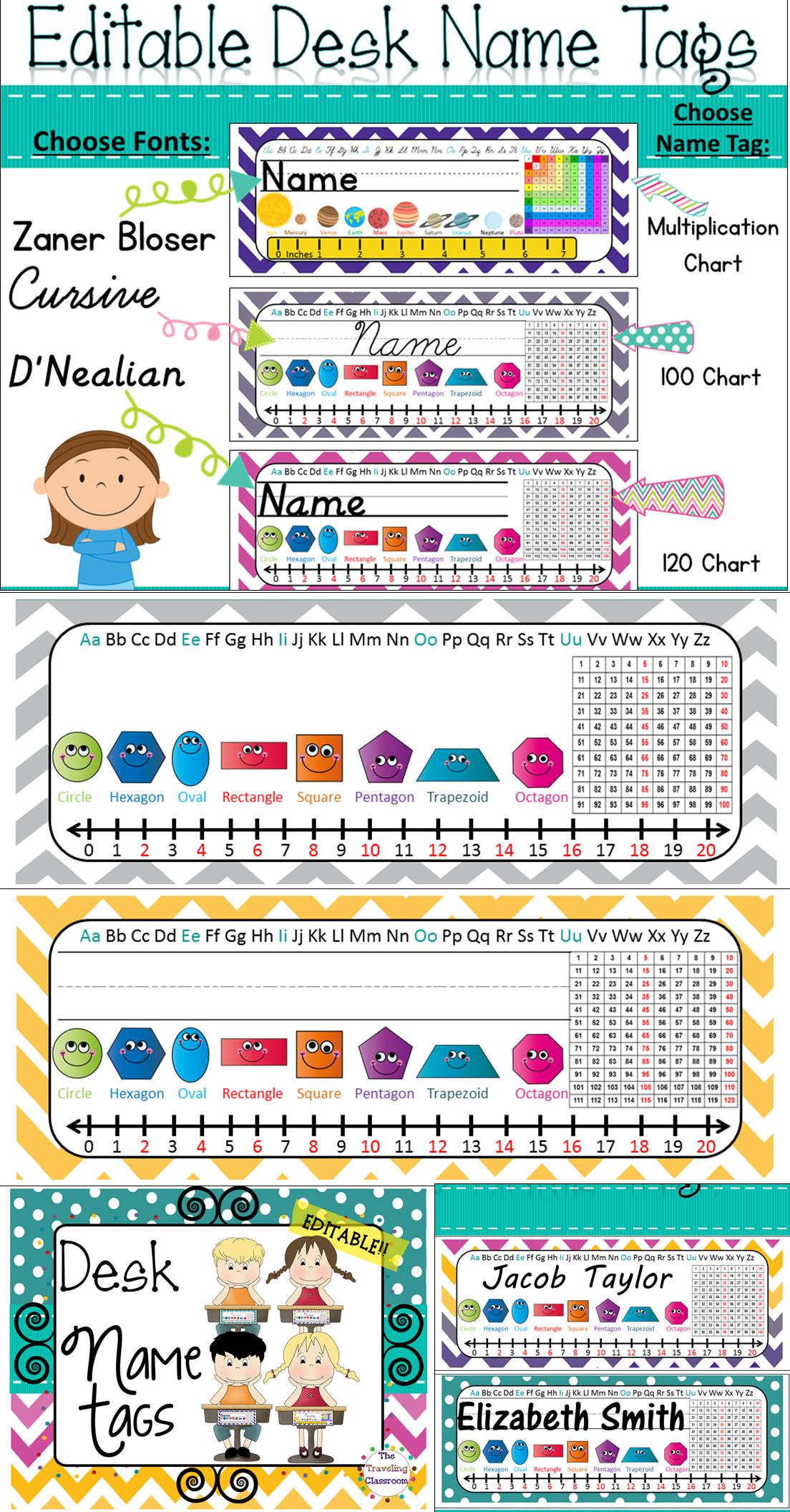Editable D\'Nealian Name Tags {Chevron Polka Dot Classroom Decor} | Kind