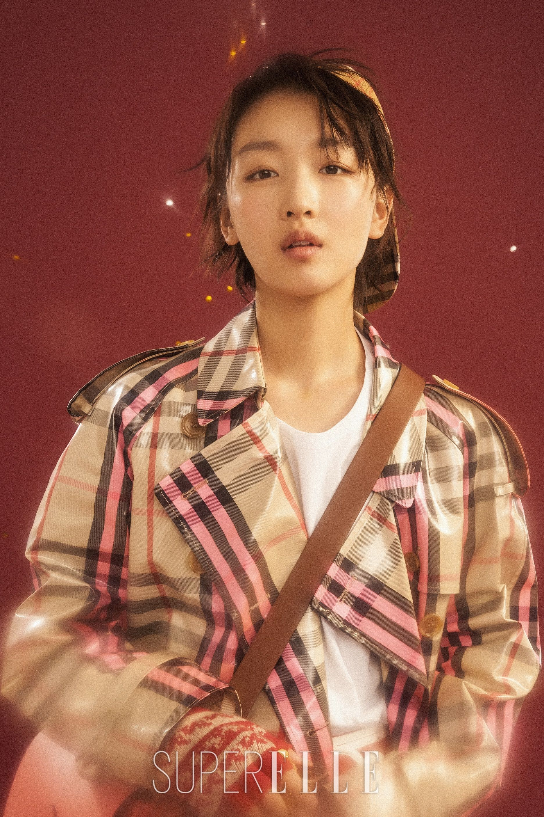 293b4920263 Zhou Dongyu wears a Burberry laminated trench in Elle China s SuperELLE  Winter issue