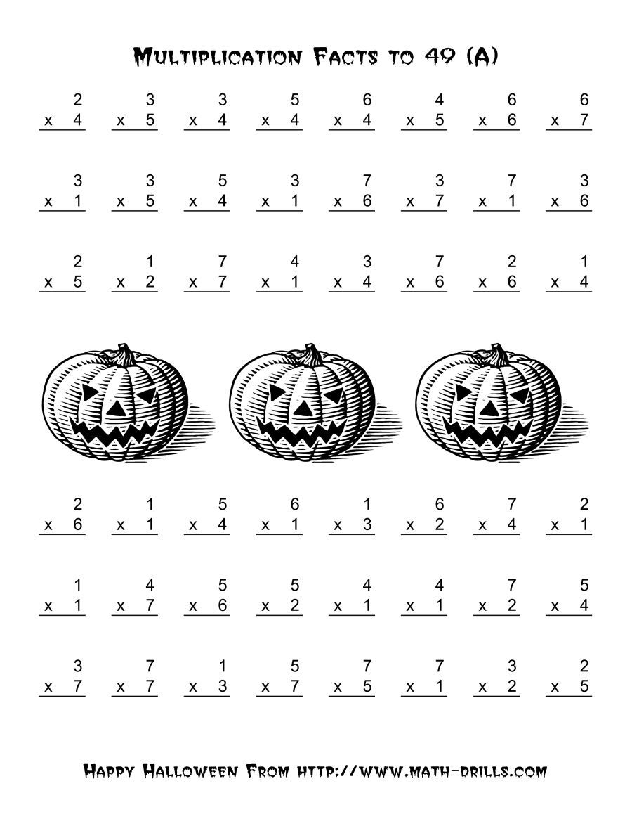The All Operations Multiplication Facts To 49 A Math Worksheet From The Halloween Math Worksheets Halloween Multiplication Worksheets Halloween Worksheets [ 1165 x 900 Pixel ]